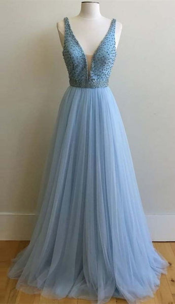 v-neck light blue tulle beaded long prom dress, PD5889
