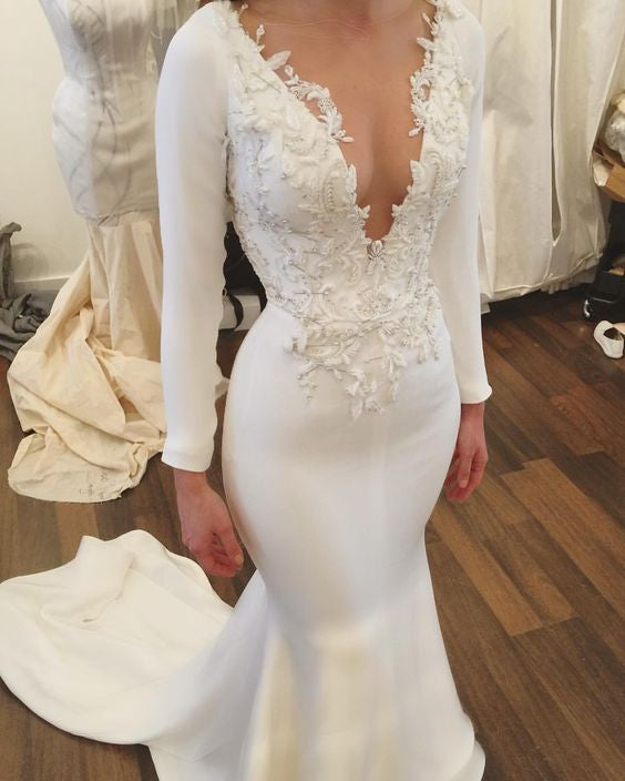 mermaid long v-neck long sleeves wedding dress, WD101