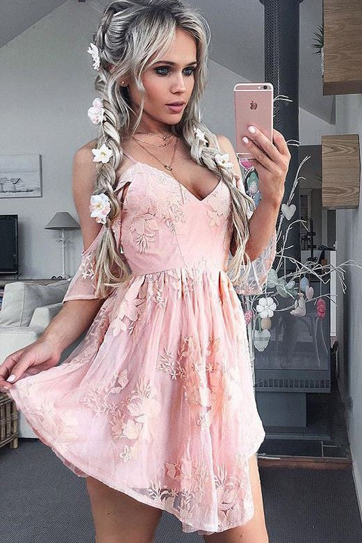 v-neck spaghetti straps pink lace cheap short homecoming dress for girls, BD3804