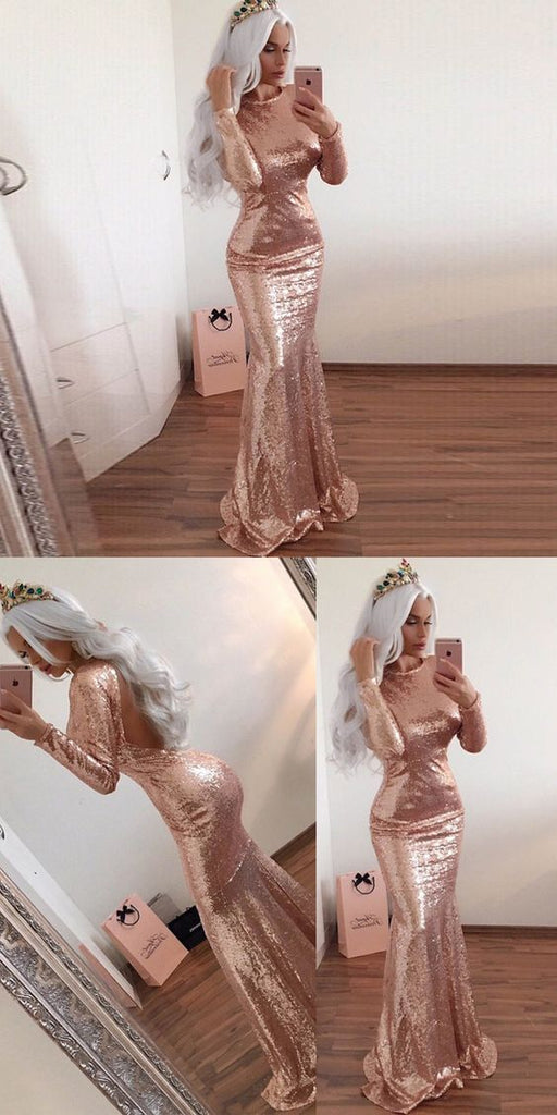 c44d1b00a741 rose gold sequin long sleeves open back mermaid long prom dress, PD5898
