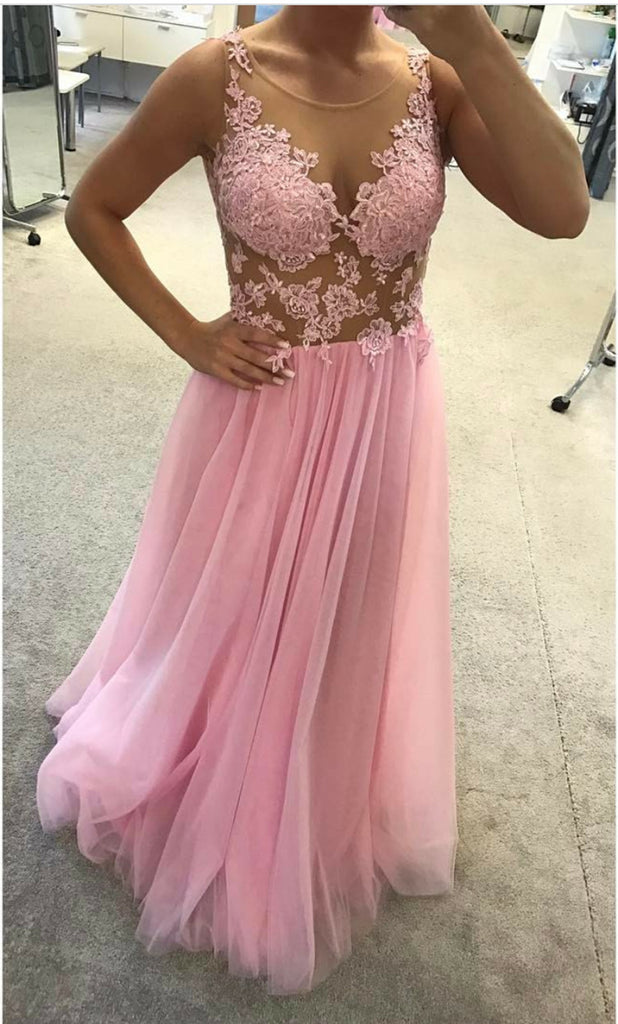 elegant round neck pink tulle long evening dress, PD8580