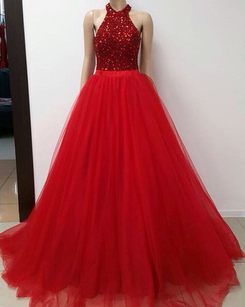 charming formal A-line tulle red beaded long prom dress, PD5890