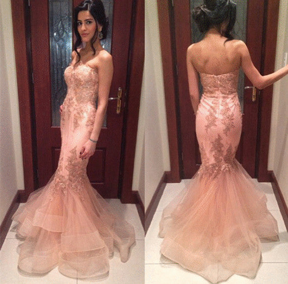 blush pink lace appliques sweetheart formal long prom dress, PD5578