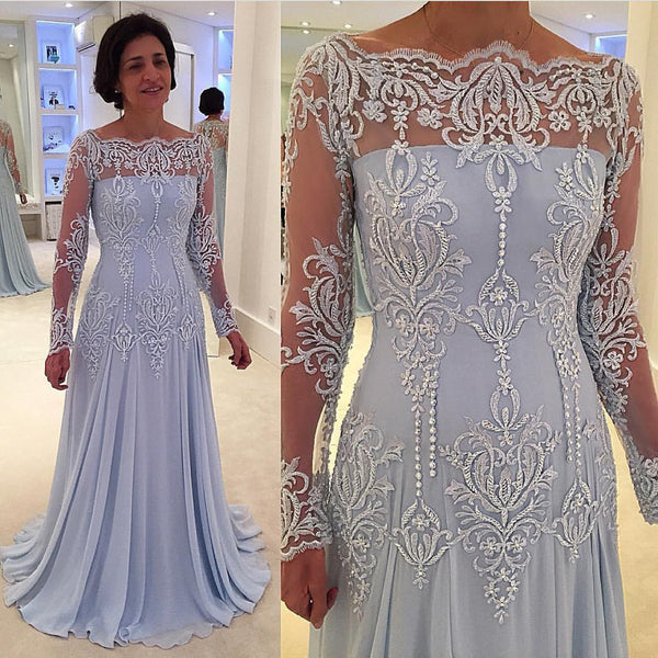 blue off shoulder long sleeves elegant long mother prom dress, PD5580