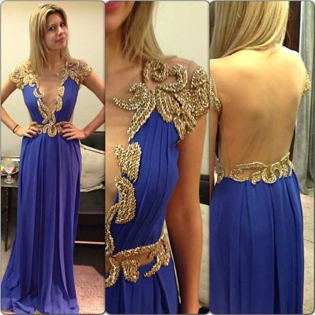 short sleeves royal blue chiffon open back beaded long prom dress, PD56572