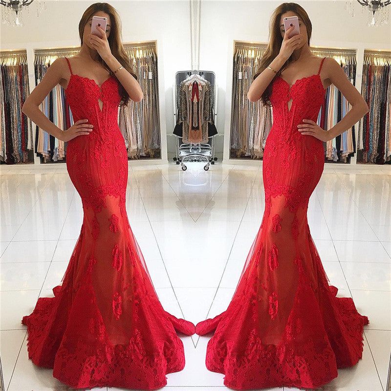 2017 formal spaghetti straps mermaid red long evening dress, PD8583