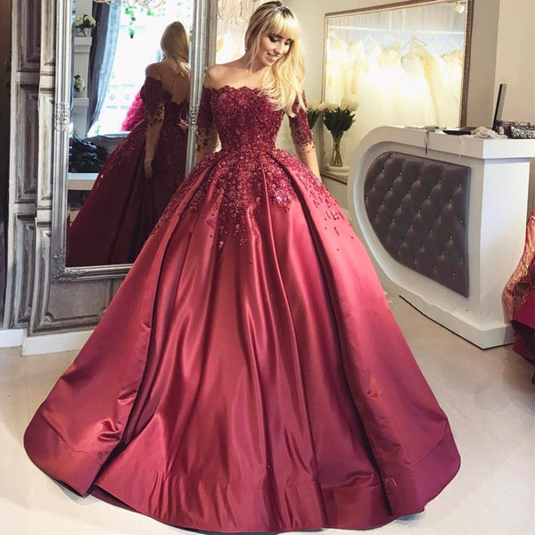 long off shoulder A-line burgundy long sleeves prom dress, PD5893