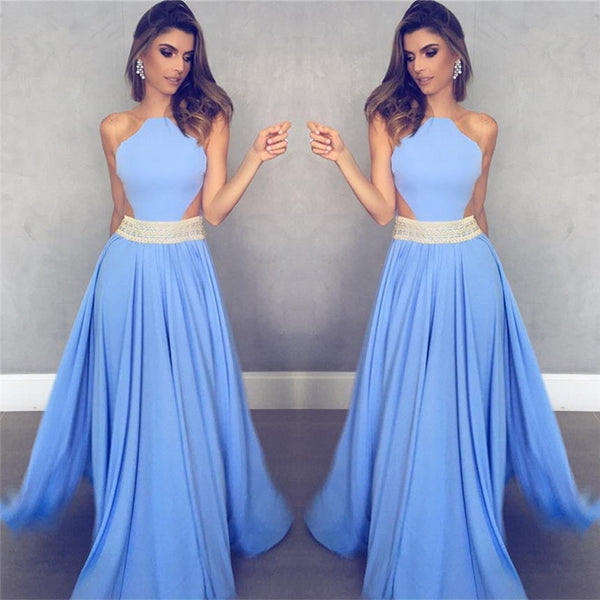 charming 2017 sleeveless blue A-line satin long prom dress, PD7086