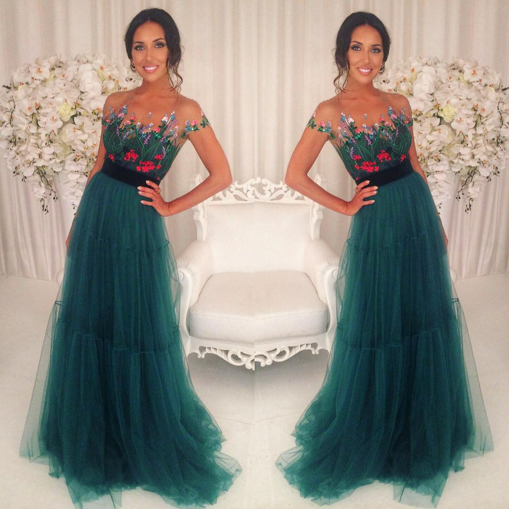 2017 formal charming short sleeves tulle teal long prom dress, PD5895