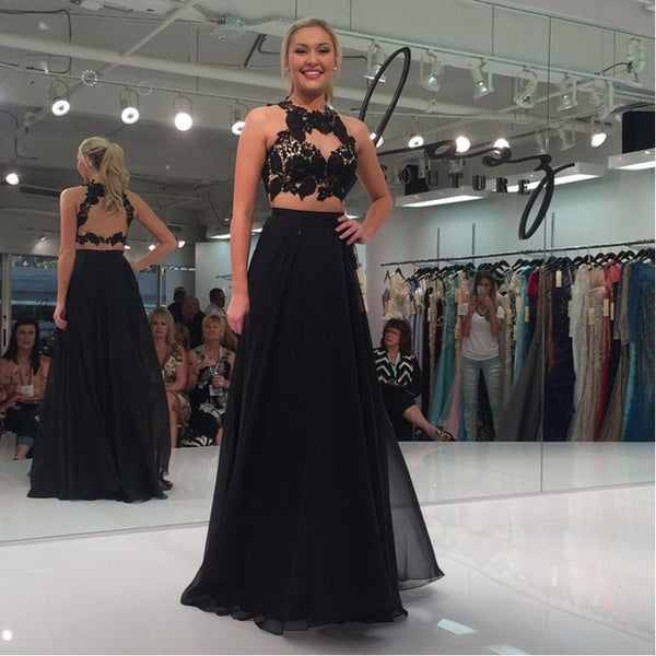 formal two pieces black open back long prom dress, PD8584