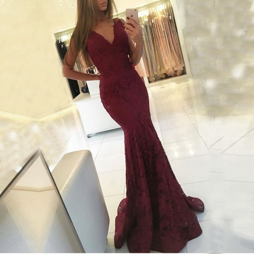 2017 elegant formal burgundy lace v-neck mermaid long prom dress, PD8586