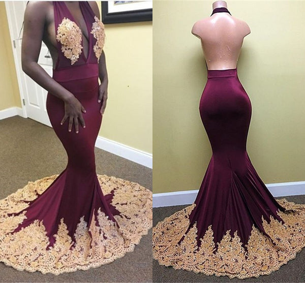 sexy halter mermaid v-neck backless burgundy long prom dress, PD1479
