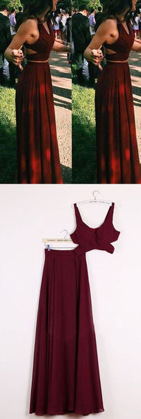 two pieces burgundy chiffon simple cheap long prom dress, PD0203