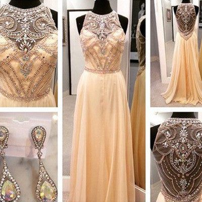 beaded prom dress, long prom dress, charming prom dress, daffodil prom dress, evening gown 2017, BD117