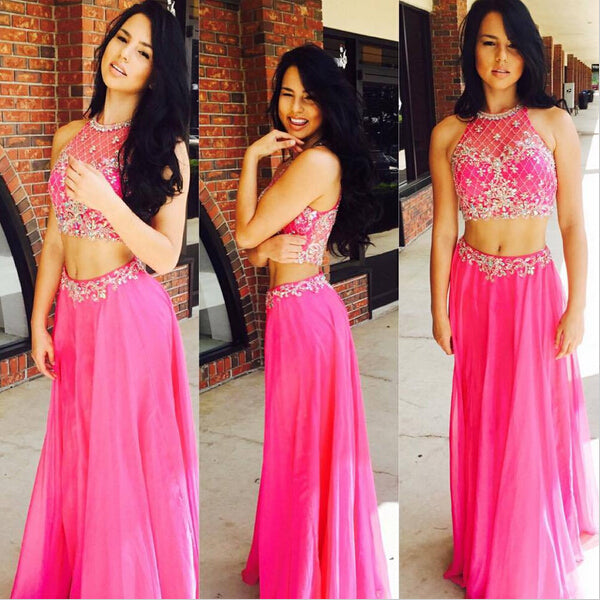 2017 two pieces chiffon hot pink long beaded prom dress, PD6785