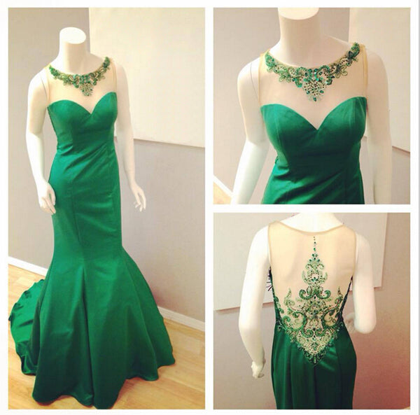 beaded see through back green mermaid formal long prom dress, PD6786