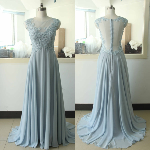 cap sleeves light gray long bridesmaid dresses, see through back bridesmaid dress, BD46575