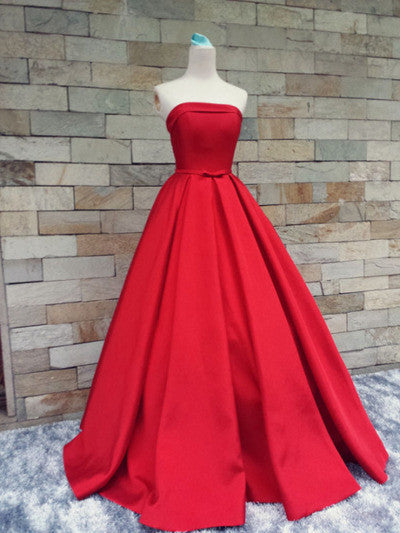 red prom dress,long prom dress,strapless prom dress, A-line prom dress,cheap prom gown, BD529