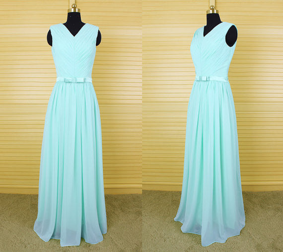 mint green v-neck long bridesmaid dresses, chiffon bridesmaid dress, BD46576