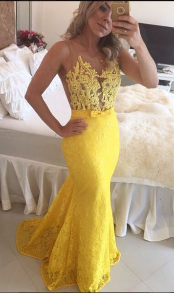 2017 mermaid formal charming yellow lace long prom dress, PD6791