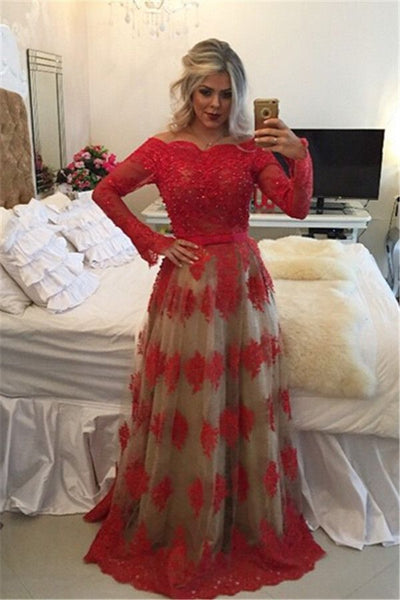 modest formal A-line long sleeves red lace long prom dress, PD6792