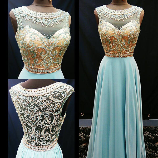 blue prom dress, long prom dress, beaded prom dress, o neck prom dress, 2017 evening gown, BD11