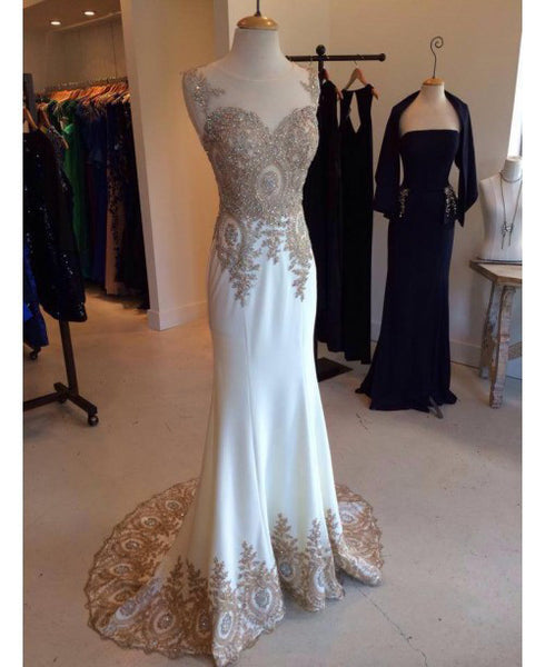 White prom dress, long prom dress, chiffon prom dress, formal prom dress, charming evening dress, BD20