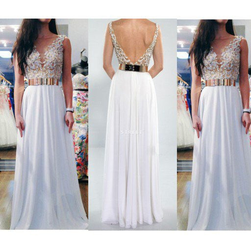 white prom dress, long prom dress, chiffon prom dress, backless prom dress, charming evening dress, BD04
