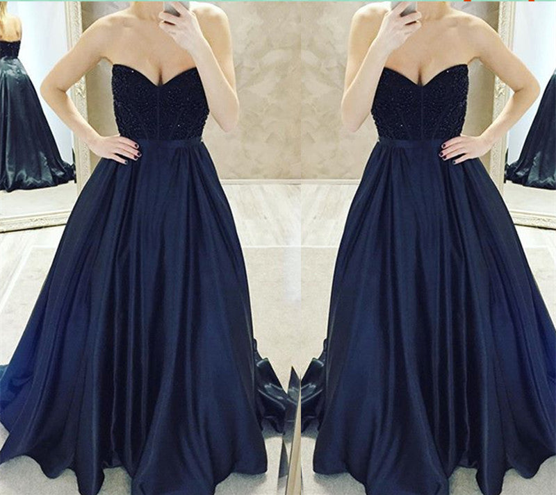 Navy prom dress, long prom dress, A-line prom dress, strapless prom dress, charming evening gown, BD24