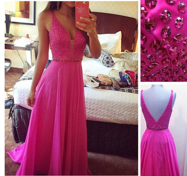 hot pink prom dress, long prom dress, chiffon prom dress, spaghetti straps prom dress, charming beaded evening gown, BD25