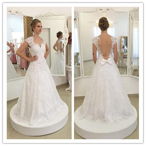 simple and elegant white lace long wedding dress, WD234