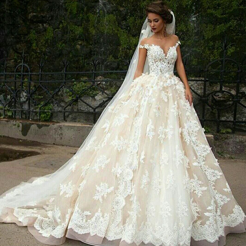formal elegant cap sleeves A-line ivory lace long wedding dress ...