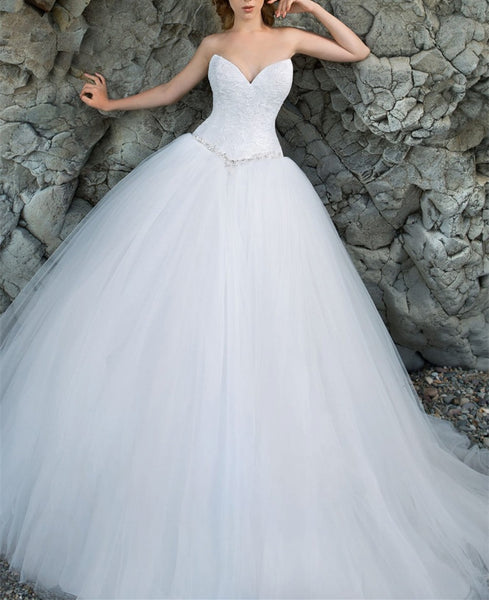 simple and elegant sweetheart white tulle floor-length wedding dress, WD236