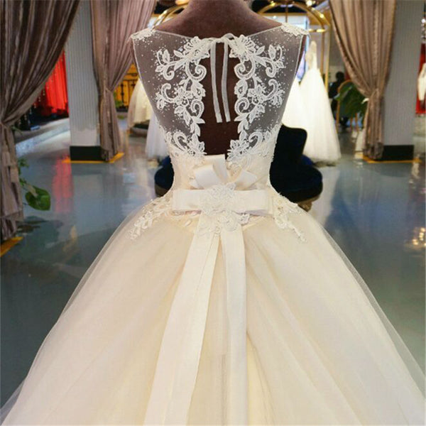 modest ivory A-line formal long wedding dress with train, WD237
