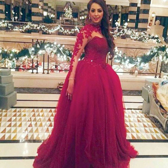 burgundy prom dress, long prom dress, formal prom gown, long sleeves prom dress, charming evening dress, BD60