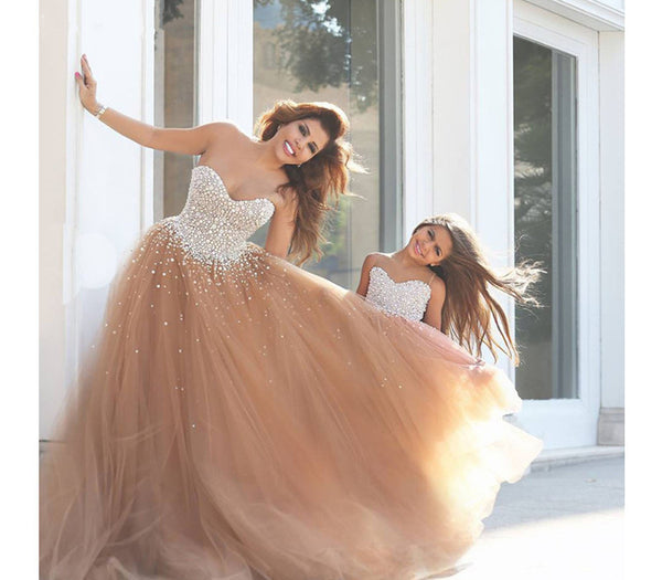 A-line prom dress, long prom dress, tulle prom dress, charming prom dress, sweetheart evening dress, BD64