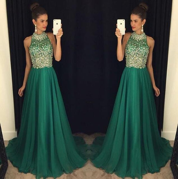 green prom dress, charming prom dress, long prom dress, beaded prom dress, 2017 prom dress, BD502
