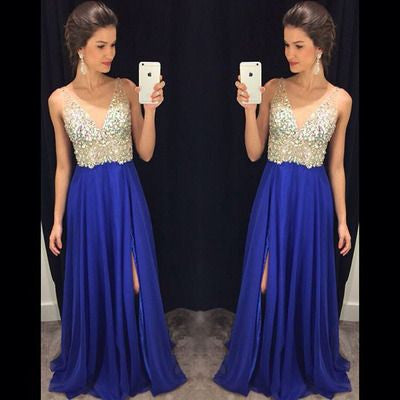 beaded prom dress, long prom dress, royal blue prom dress, chiffon prom dress, side slit evening dress, BD515