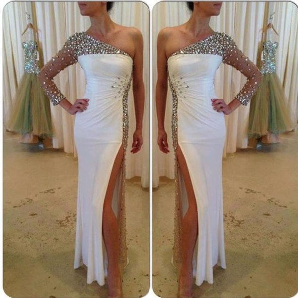 white prom dress, long prom dress, beaded prom dress, one shoulder prom dress, side slit evening dress, BD383