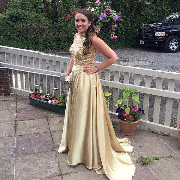 gold beaded long charming formal 2017 prom dress, PD1264
