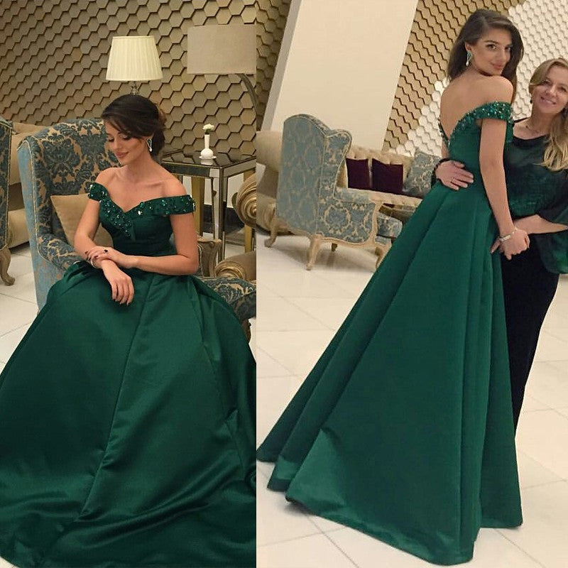 green prom dress, off shoulder prom dress, A-line prom dress, floor-length prom dress, formal evening gown, BD77
