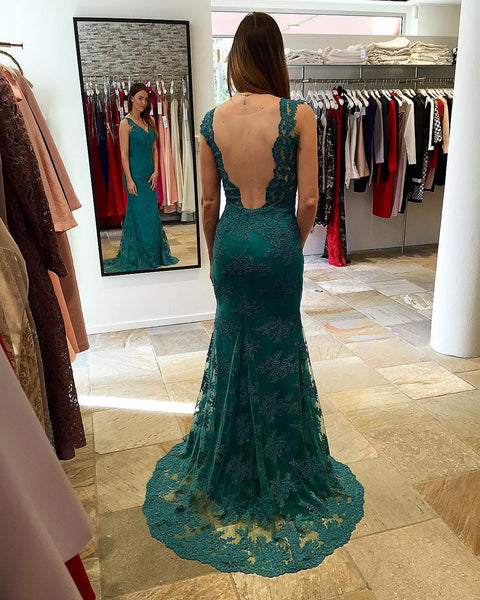 teal green lace mermaid backless formal long prom dress, PD1482