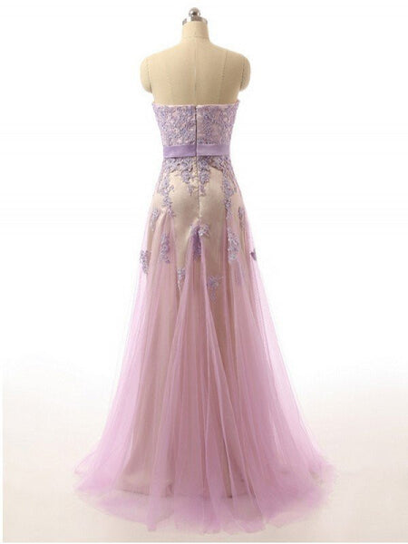 light purple tulle sweetheart long prom dress with lace appliques, PD6225
