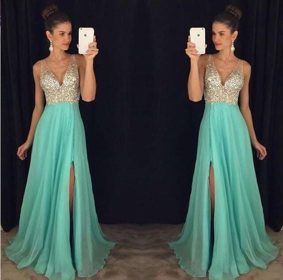 beaded prom dress, long prom dress, blue prom dress, v-neck evening dress, prom dress with side slit, BD386