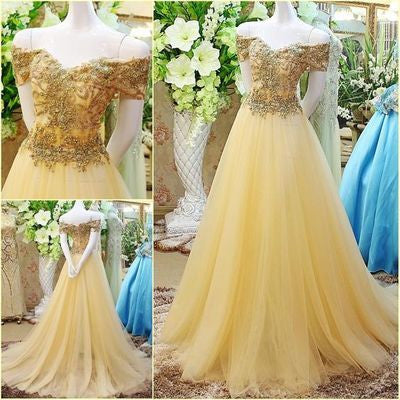beaded off shoulder tulle A-line daffodil 2017 long prom dress, PD1367