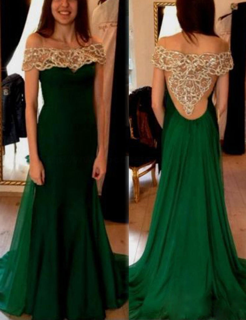 off shoulder beaded green see through back formal 2017 long chiffon prom dress, PD1474