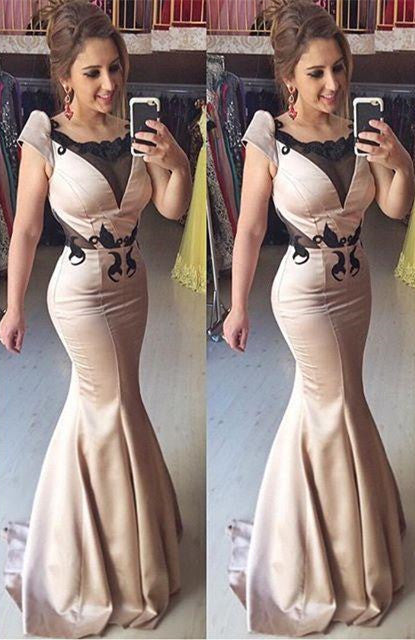 mermaid cap sleeves unique formal long prom dress, PD7175