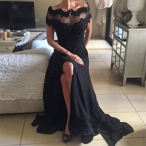 black long short sleeves chiffon side slit formal 2017 prom dress, PD1376