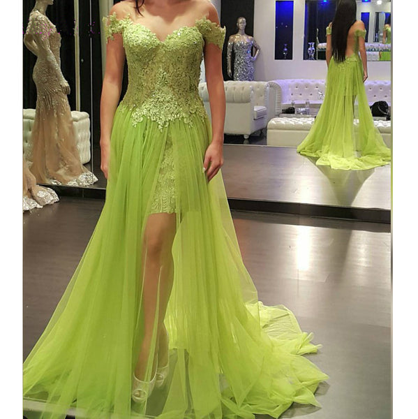 2017 unique off shoulder green lace long prom dress, PD6796