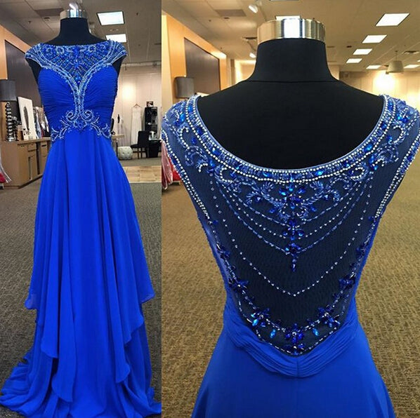cheap royal blue chiffon beaded cap sleeves long prom dress, PD6797